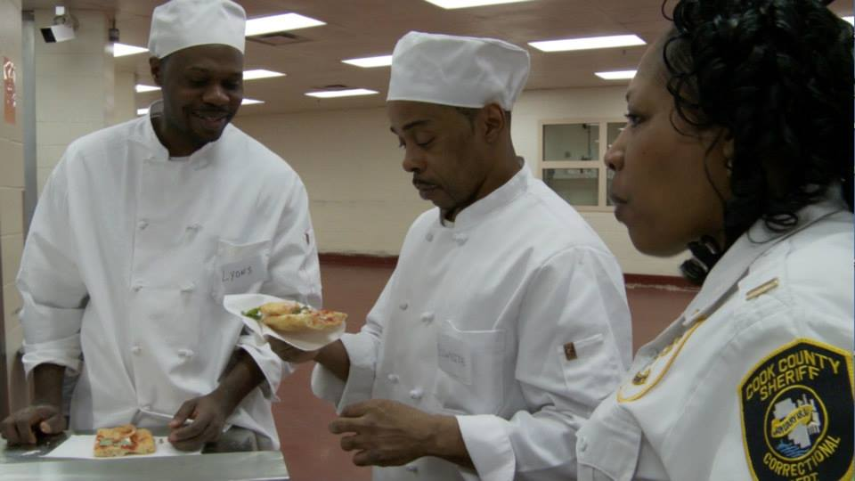 culinary students and an officer at Cook County Jail