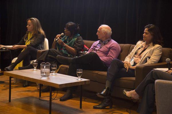 Paula Froehle &Steve Cohen with panelists at Hot Docs 2015. photo via @YesFoundationIn