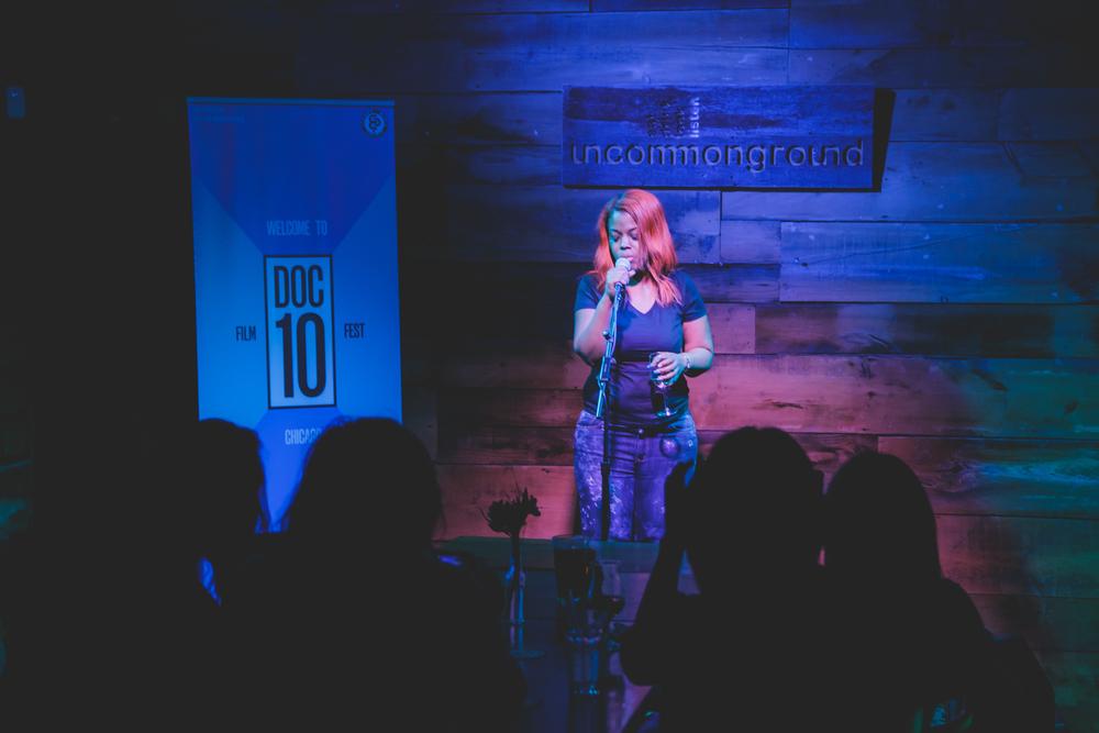 Samantha Montgomery singing at DOC10 closing party