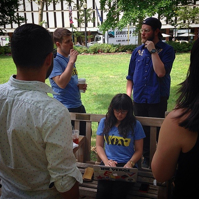 Apps team at Rittenhouse Square in Philadelphia writing our team manifesto, June 2014.
