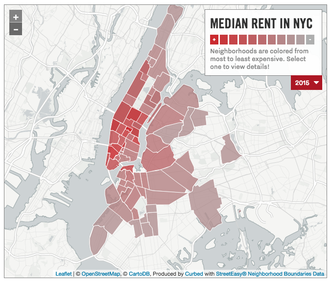 NYC rental prices map, Curbed