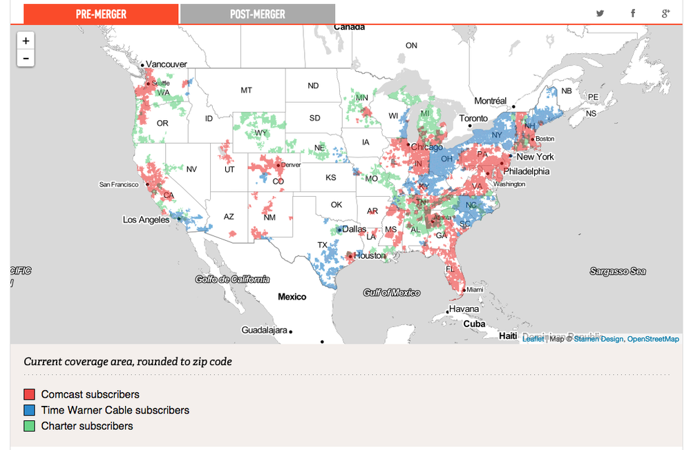 Map of Comcast, Time Warner Cable, and Charter coverage areas, The Verge