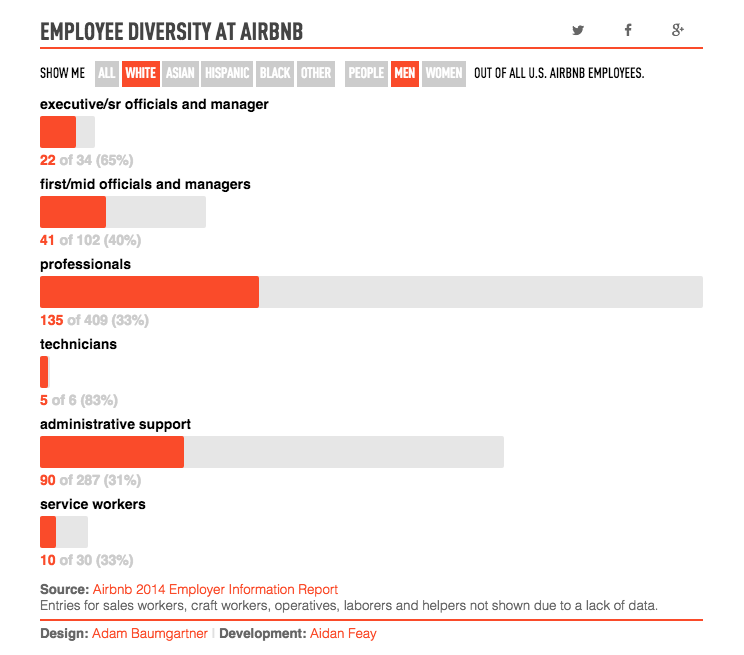AirBnb Diversity Charts, The Verge