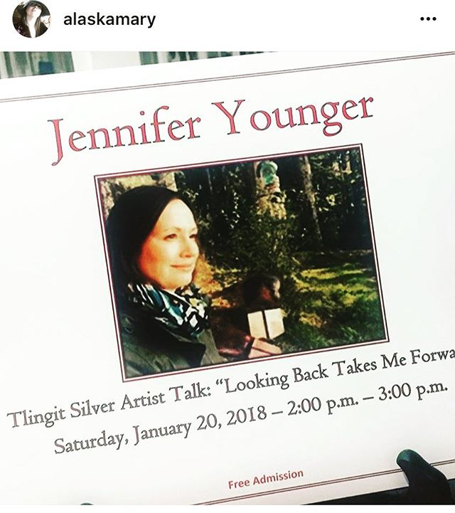 "Love the theme of this symposium ""looking back takes me forward"" 👣 . #Repost @alaskamary with @jennifers_copper_silver ・・・ ""Looking back takes me forward."" Heading to my sister's talk at the SJ Museum. Starting now! Sporting some Jenn Jewels. #tlingitbling #nativepower #walkthetalk #indigenousart #nativeamericanartists"