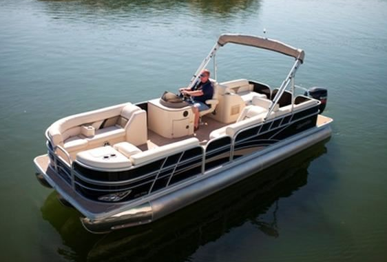 25' Sun Chaser |  seats 14 people. It has an open bow, large sun tanning deck with wrap around bench style seating in front and on back. It has a bimini top for those that might want to stay out of the sunshine. There is also a changing station allowing privacy.