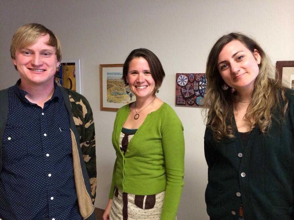 2014-2015 Poetry Editor Jeff Pearson, Faculty Advisor Alexandra Teague, and 2013-2014 Marketing Editor Katie Ellison all aglow from the creative magic of Storyfort.