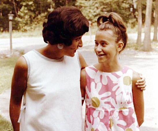 Anne and Linda just outside their home in Weston, Massachusetts, circa 1967.