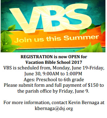 "*Registration form can be found on our ""Vacation Bible School"" Page under the ""Faith Formation"" Tab"