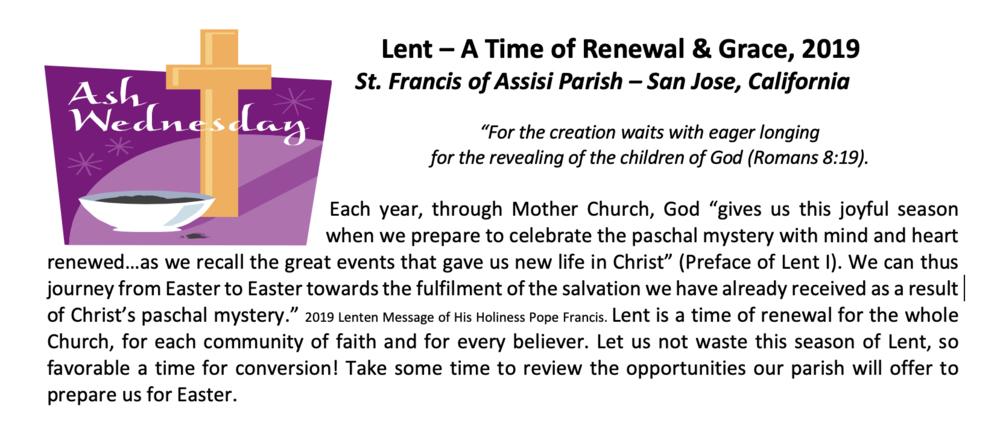 Parish Lenten Activities and Events Info Sheet -
