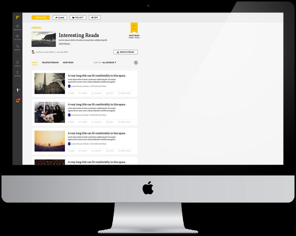 Stream page design