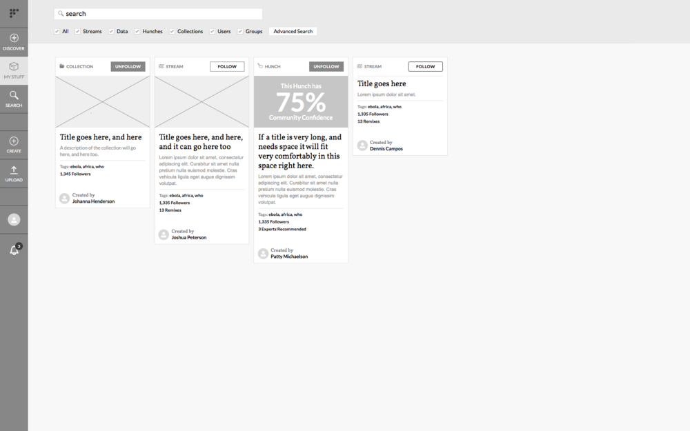 Discover wireframe