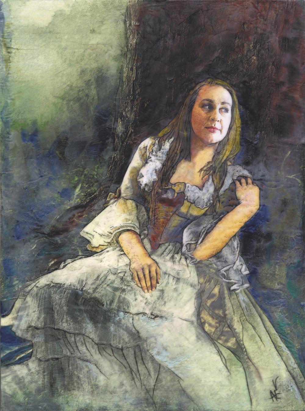 """Cassandra  Graphite, Watercolour, Pan Pastel, Encaustic, Ink      24""""x18"""""""