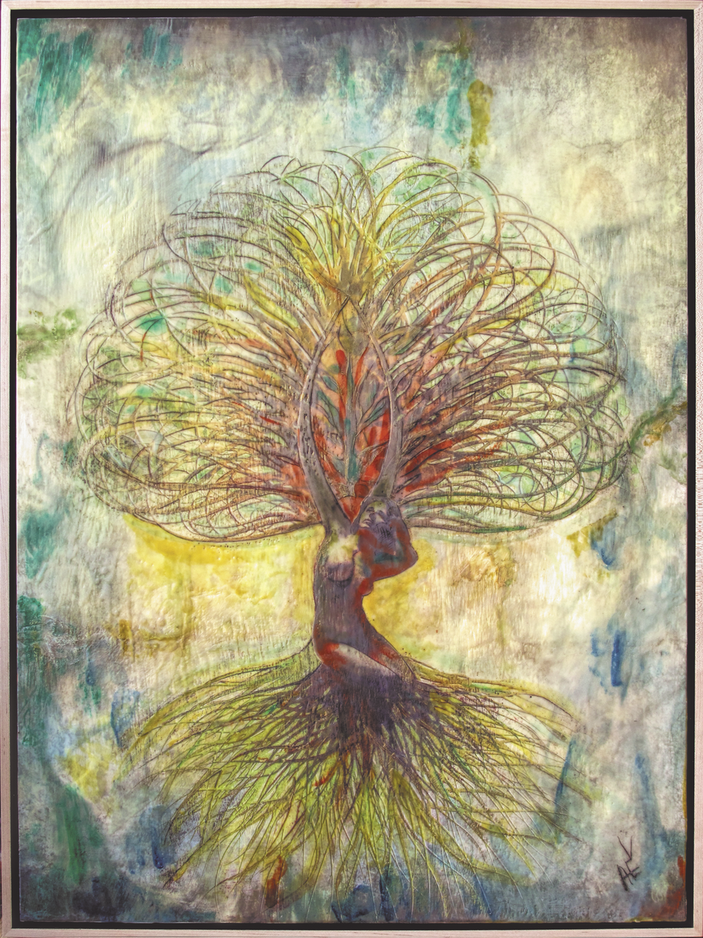 "Tree of Life #2   Encaustic, Pan Pastel, Graphite, Ink, Oil.   18""x24""  2014.       Private Collection Tree of Life #2 is part of a series of four. This is a Soul Portrait."