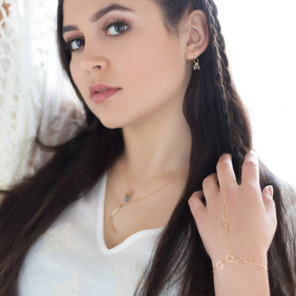 SHOP THE LOOK, From top:  Olea Earrings ,  Laine Necklace ,  Luna Necklace  & Zenia Slave Bracelet