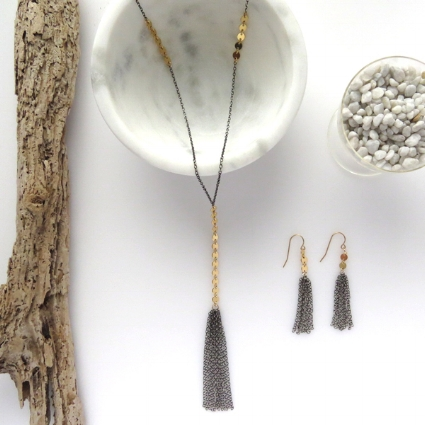 From our Dusk Collection:  Hera Tassel Necklace  &  Hera Tassel Earrings