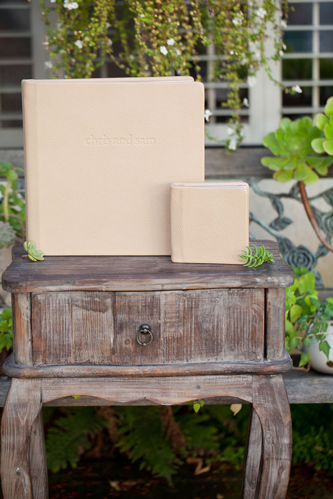 Mini 6x6 album with a debossed 12x12 leather album. Crema