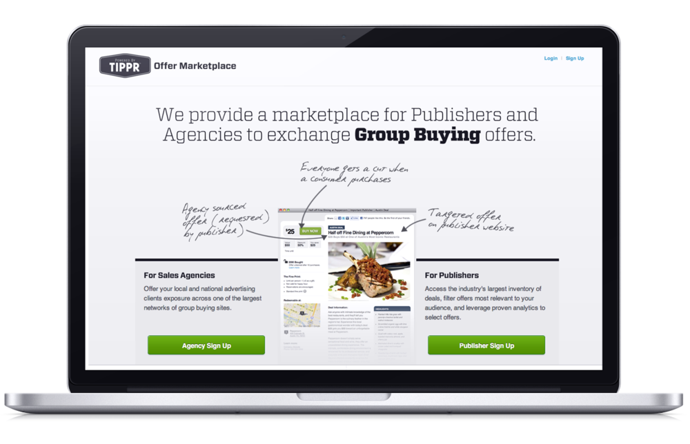 "Landing page for businesses to sign up for PoweredByTippr's ""Offer Marketplace"". One of PoweredByTippr's product offerings - a deal exchange program where offer sourcing agencies could provide targeted inventory to publishers."