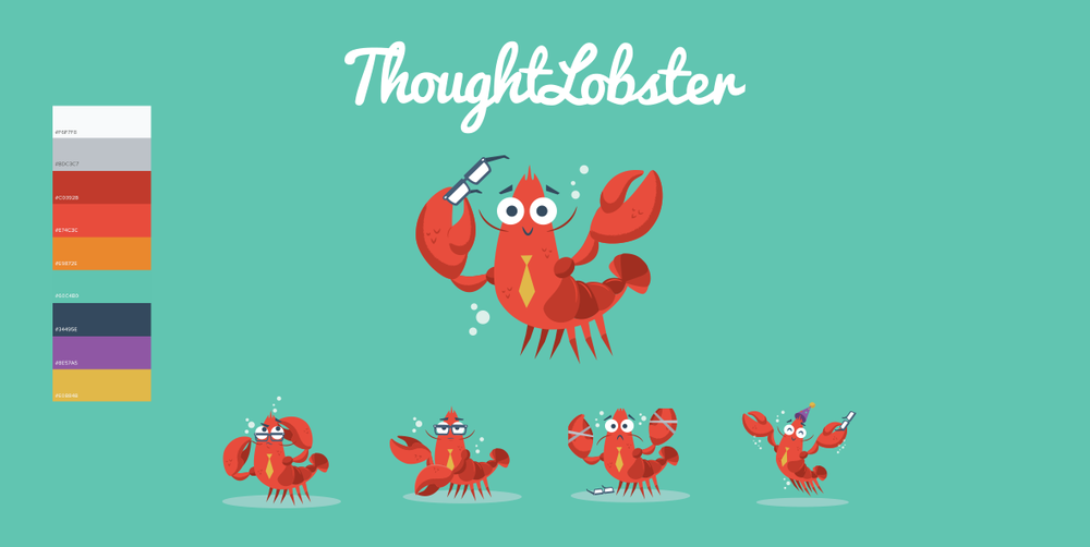 "Some branding elements. ""Claude"" the ThoughtLobster mascot illustration done in collaboration with  Jerrod Maruyama ."