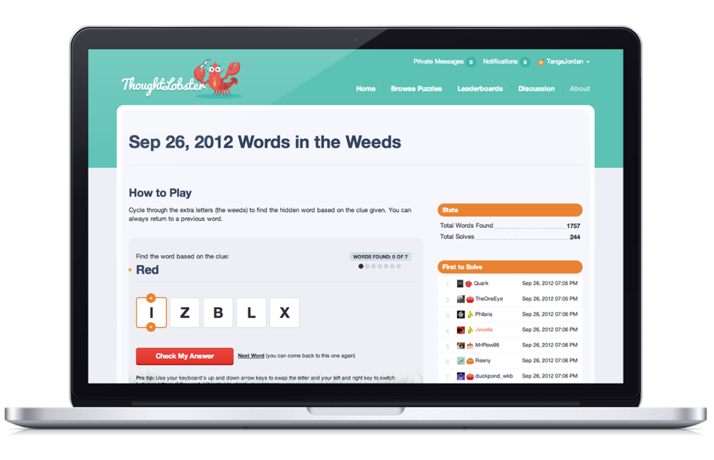 "Shown above is a screenshot of the a landing page campaign to subscribe existing members within the original platform called ""Daily Fun"" to the new ThoughtLobster community."