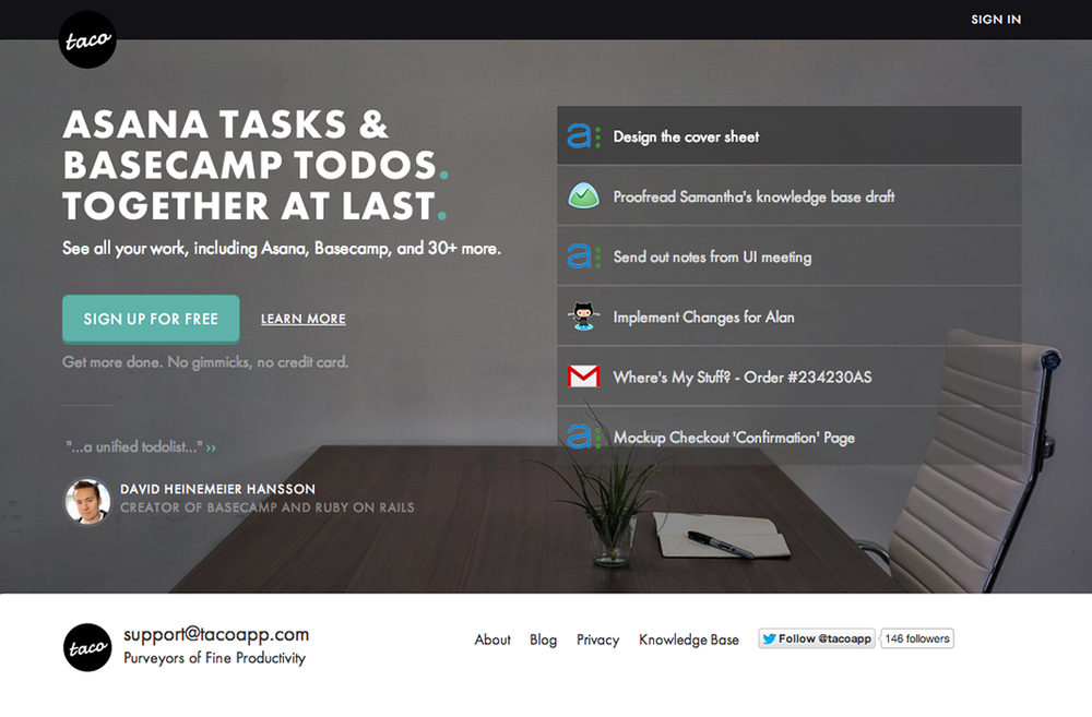Landing Page -  Asana Tasks and Basecamp Todos