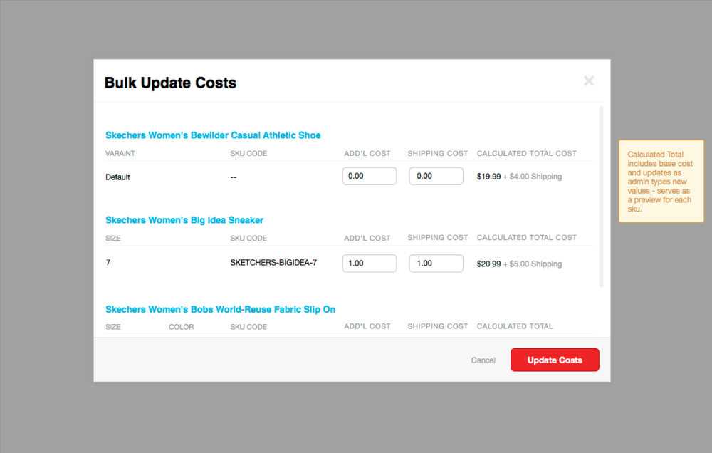 Wireframe for bulk updating costs.
