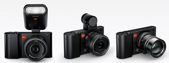 Leica T with Flash, Viewfinder, and Adapter accessories.