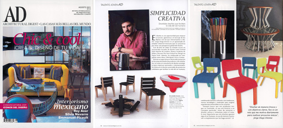 "Architectural Digest Mexico: Young Talent     A profile about my work was been published at Architetural Digest Mexico August edition of the ""Young Talent"" section in the magazine. Projects like Molcaware, Choose your bullets, Mesas Arcanas and furniture concepts such as Corey and Chimuelo chairs were featured on this article titled ""Creative Simplicity"".     More about this article in the Press section"
