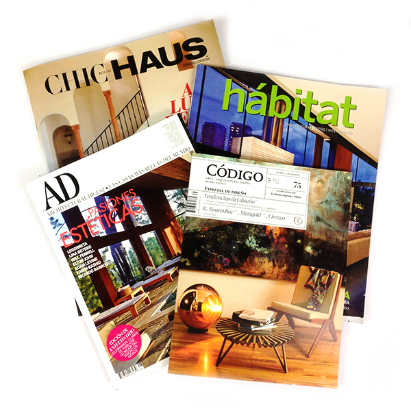 Recent Press     We are fortunate to have our work published this month at great design magazines such as Codigo, Architectural Digest, Chic Haus and Habitat. We really appreciate all the recent coverage we've been receiving, thanks for your interest in our work!        More in our press section.