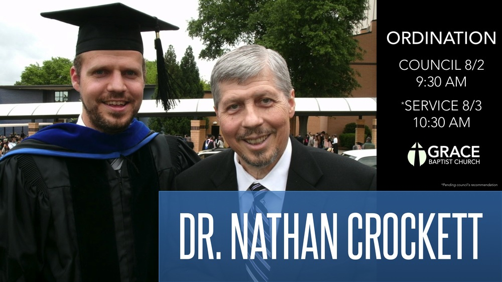Dr. Nathan Crockett with his father, Pastor Leigh Crockett, on May 3, 2013