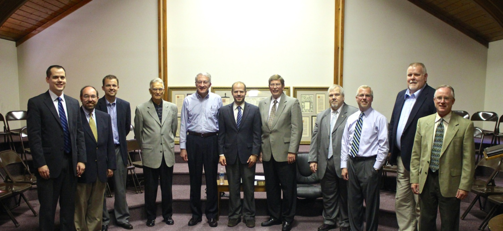 Ordination council from left to right: Rev. Josh Crockett,  Rev.  Bill Lowry,  Rev.  Seth Leeman,  Rev.  Don Hamm, Dr. Bruce McAllister,  Dr.  Nathan Crockett,  Dr.  Mark Minnick,  Rev.  Wilbur DuBois,  Rev.  Todd Curtis,  Rev.  Doug Stein, and  Rev.  Mark Felber.