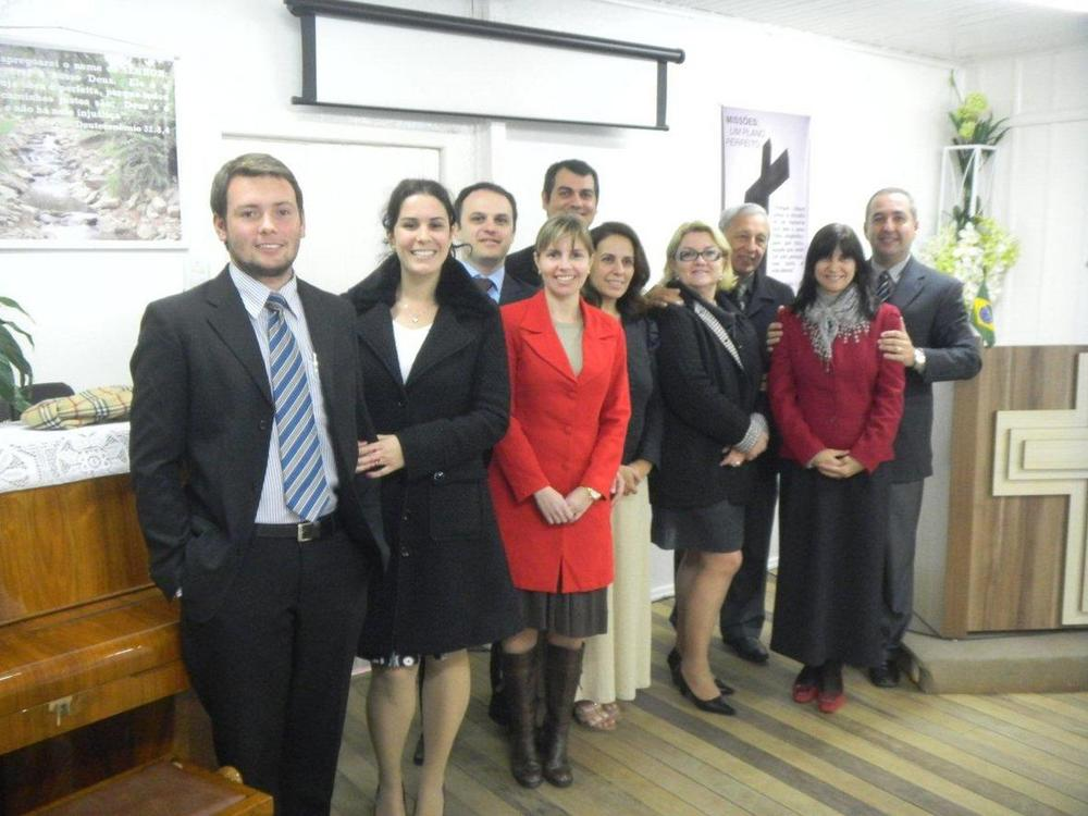 Silveiras with their church staff in southern Brazil