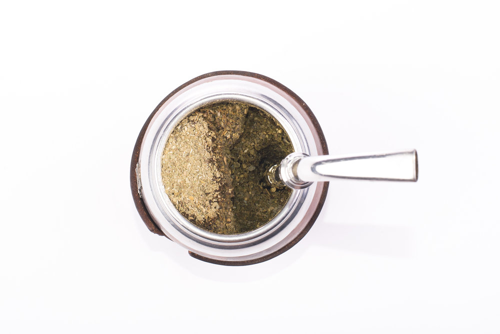 yerba mate gourd bombilla and tea