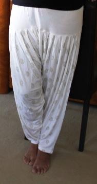 White & Gold Print Harem Pants