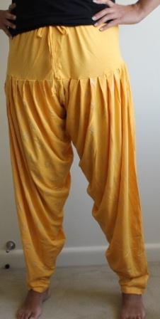 Yellow & Silver Print Harem Pants