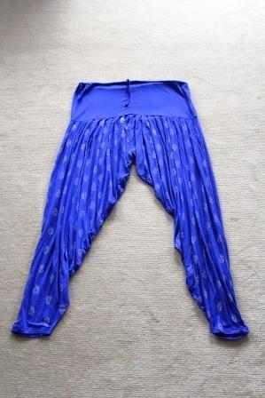 Blue & Gold Print Harem Pants