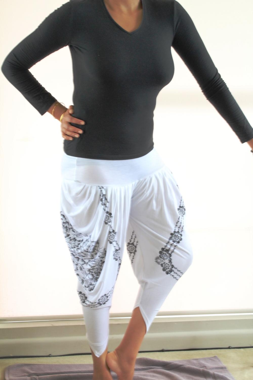 White & Black Print Harem Pants