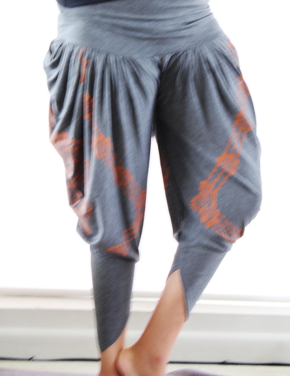 Grey & Orange Print Harem Pants
