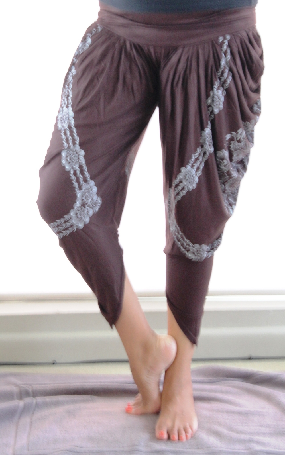 Brown & White Print Harem Pants