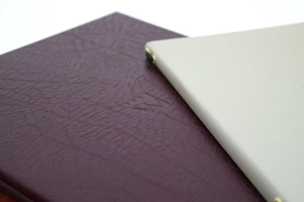 Recycled leather menus