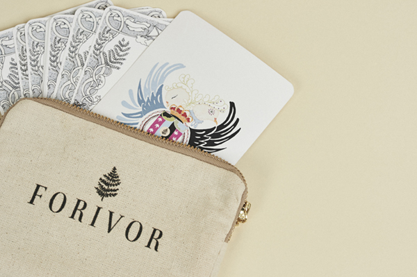 A set of Character Cards, presented in this simple and stylish cotton pouch, accompany Forivor's blankets and duvet sets. Credit: Jon Gorrigan