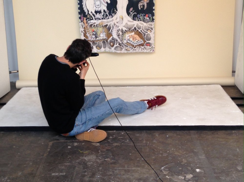 Jon photographing our Enchanted Forest Organic Baby Blanket