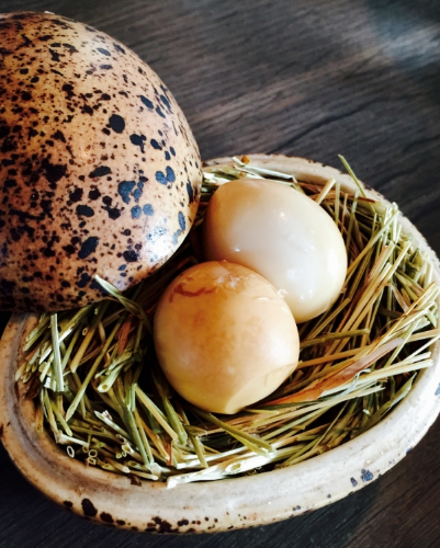 Smoked and pickled quail eggs