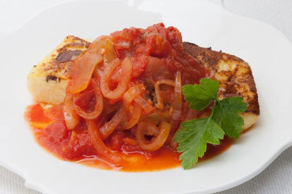taste of the week grilled polenta with tomato and onion
