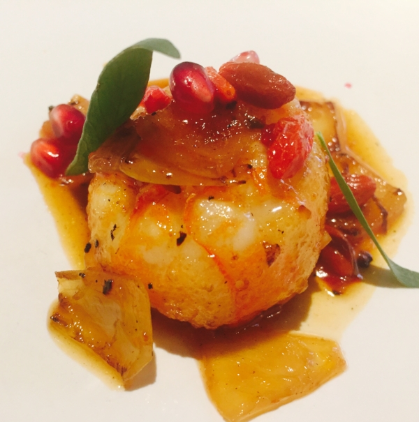 Langoustine, onions, pomegranate, goji berry and tarragon