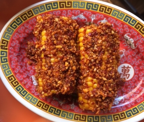 Barbequed corn with beurre piment