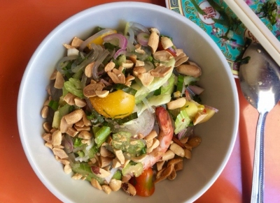 Yam Woon Sen cold noodle prawn salad