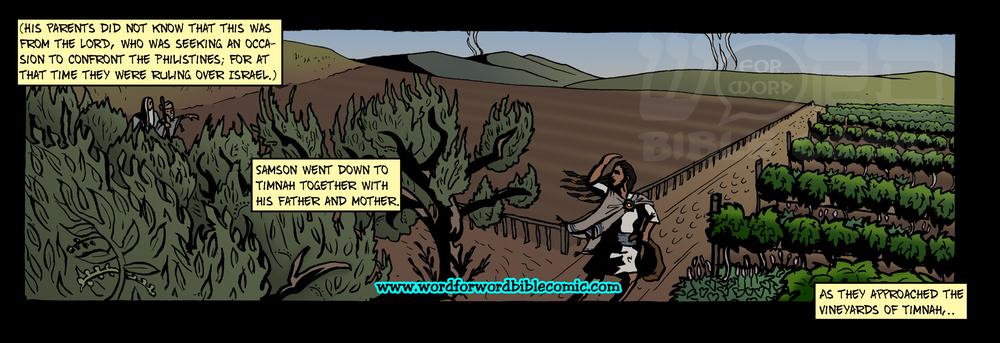 Word for WORD Bible Comic Panel for Judges 14:4-5a
