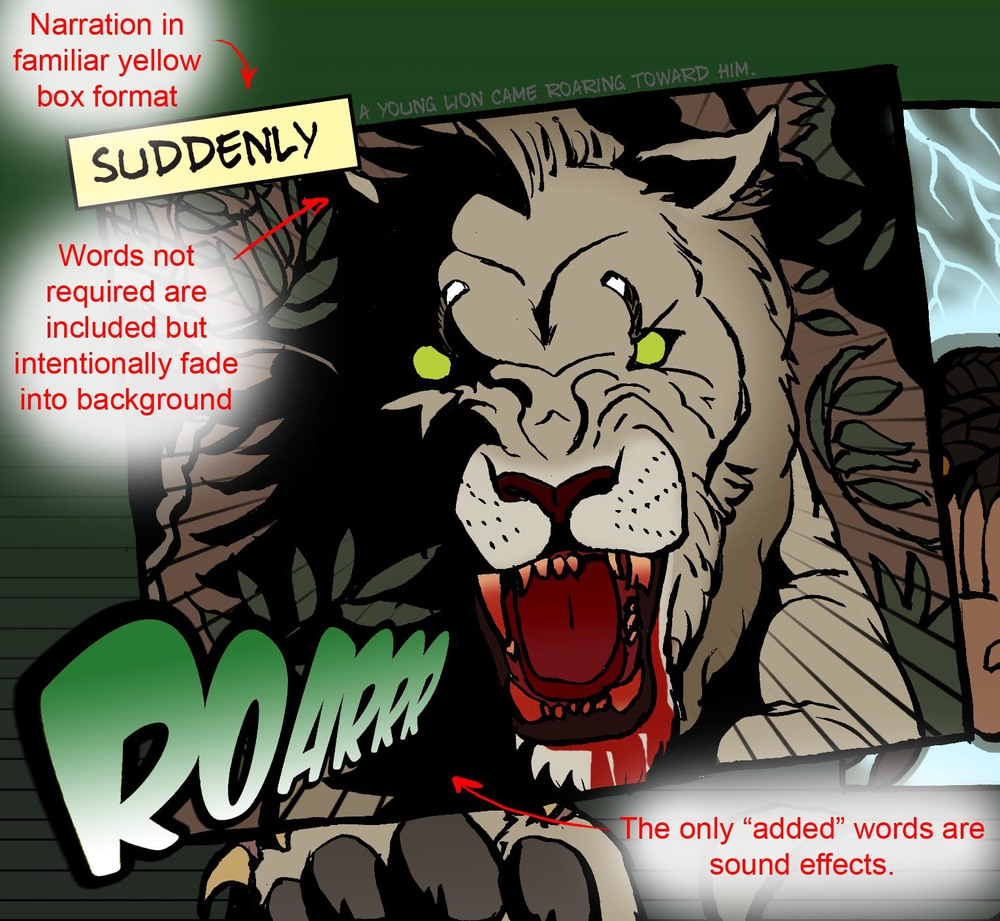 The lion with demonic eyes and bloody maw. Also, highlighting the unabridged aspect of the comic.