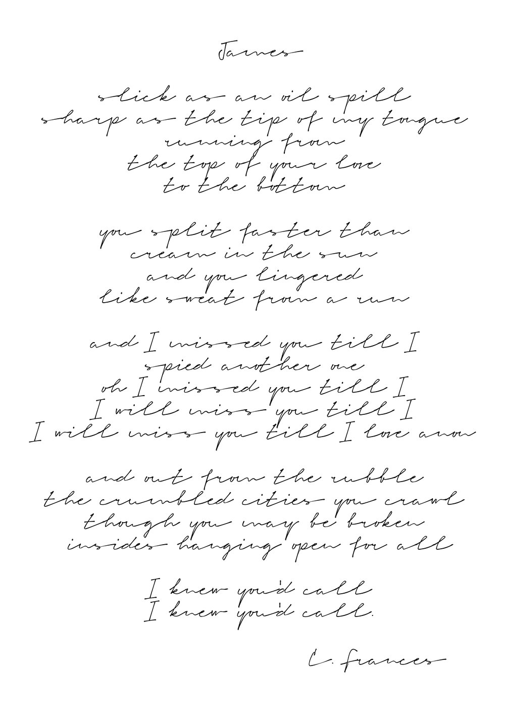 Catherine Frances - James lyrics