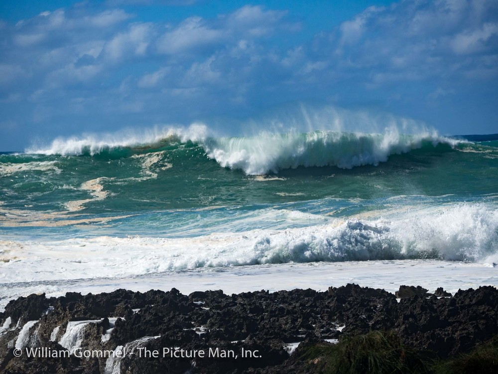 These two images were taken at Wiamea Bay and you can see and feel the power.  While I was taking these images, a surfer climbed over the tape signifying the beach was closed and immediately the lifeguards were there making him leave the beach.  I asked him how big these swells were and he estimated them at about 30 feet.